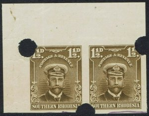 SOUTHERN RHODESIA 1924 KGV ADMIRAL 11/2D IMPERF PLATE PROOF PAIR