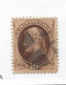 United States, 161, 10c Jefferson Brown Single,**Used**#1