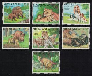 Nicaragua Mammals and their Young Bears Lions Fox Dog 7v 1988 MNH SG#2955-2961