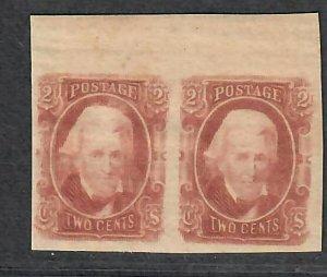 $CSA Sc#8 M/H/VF, Pos#7+8 margin pair, Confederate stamp, Cv. $150