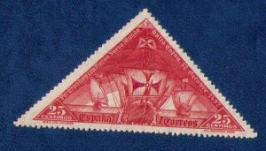 SPAIN Sc 426 MLH Bright Color Red 25c Santa Maria  Triangle Stamp F-VF