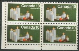STAMP STATION PERTH Canada #608p Christmas Issue Tagged1972 Block 4 MNH CV$2.80