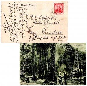 Trinidad 1d Britannia c1913 G.P.O. Port of Spain, Trinidad Postcard (Oil Bori...