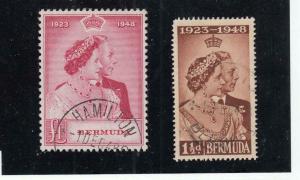 BERMUDA # 133-134 VF- 1948 SILVER WEDDING PART HAMILTON CANCEL CAT VALUE $55+