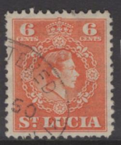 ST.LUCIA SG151 1949 6c ORANGE p12½ FINE USED