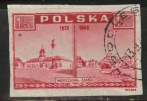Poland Scott 374 Used 1946-47 imperf stamp