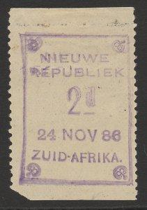 TRANSVAAL - NEW REPUBLIC 1886 (24 Nov) 2d error DOUBLE imperf top,bottom UNIQUE!