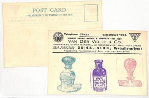 AZ405 1929 GB Stamp Makers Telegram Advertising Postcard Pair{samwells}PTS