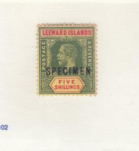 LEEWARD ISLANDS # 60 VF-MLH KGV 5sh  SPECIMEN O/PRINT CAT VALUE $85