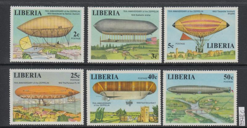 XG-W886 LIBERIA - Zeppelin, 1978 Aviation, 6 Values MNH Set