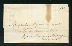 UNITED STATES 1842 LEBANON NH  STAMPLESS  COVER WHICH IS A PRINTED NOTARY NOTICE