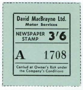 (I.B) Cinderella Collection : David MacBrayne Motor Services - Newspapers 3/6d