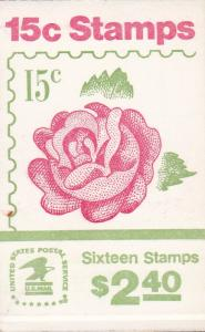 United States 1978 Stamp Booklet 134 Roses. VF/Unexploded