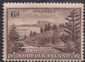 Norfolk Island 1947 KGV1 6d Purple Brown MM SG 9 ( J1042 )