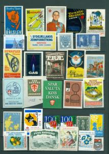 Denmark. Poster Stamp, Lot 30 Diff. 1920-1990. Business,Industry,Royal,Health.