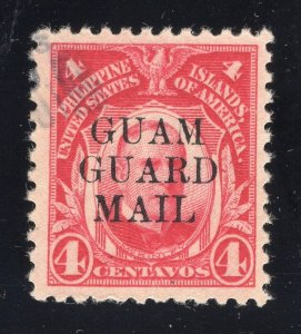 Guam# M6 4 Cents, Carmine - Guam Guard Mail - Light Cancel