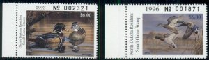 NORTH DAKOTA DUCK STAMPS 1993 & 1996, FACE $12.00, NH, VF