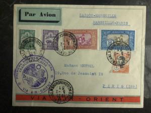 1931 Saigon Vietnam First Flight Cover to Paris France Air Orient 250 flown