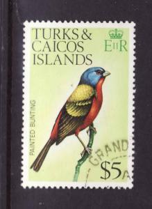 Turks & Caicos-Sc#279A-used $5 Painted Bunting-Birds-top value in set-1976-