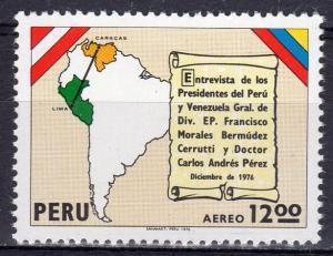 Peru 1977 Sc#C462 Map of Peru and Venezuela Pres.Meeting (1) MNH