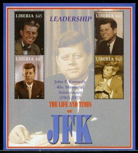 LIBERIA 40th MEMORIAL ANNIVERSARY OF JOHN F. KENNEDY SHEET  MINT NEVER  HINGED