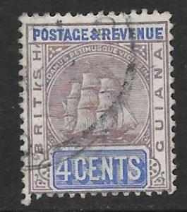 British Guiana Scott #135 Used 4c  Ship  2015 CV $4.00