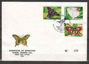 Honduras, Scott cat. C809-C811. Butterfly issue. First Day Cover. ^