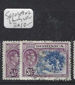 DOMINICA (PP1903B)  KGVI  3 1/2D  SG 104A  X 2 SHADES       VFU