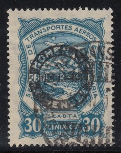 Colombia SCADTA 1928 30c Blue Mendez Overprint Used. Scott C54