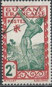 French Guiana 110 (mh, gum skips) 2c Carib archer, dk red & blue grn (1929)