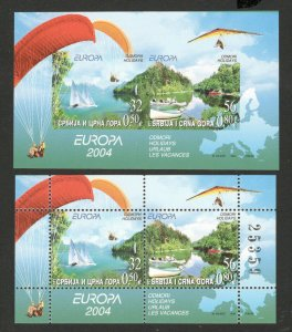 SERBIA & MONTENEGRO-IMPERFORATED BLOCK-EUROPA CEPT-PROOF ON CHROMALINE PAPE-2004