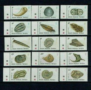 British Antarctic Territory:  1990  Fossils, definitive set, MNH