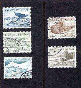 Greenland 71-75,  Complete Set, VF, Used, CV $7.40 ...2510116/0