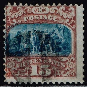US STAMP #119 – 1869 15c Columbus Landing, type II Pictorial Issue USED