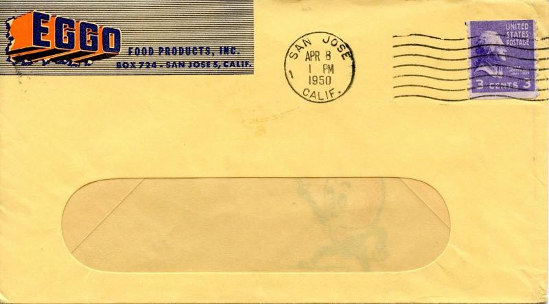 U.S. Scott 842 Prexie On 1st Class Mail Multi-Color 2-sided EGGO Food Ad Cover