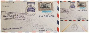 O) 1941 BELGIAN CONGO, KING ALBERT MEMORIAL LEOPOLDVILLE, KRAAL AIRPOST STAM, LE