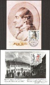 Liechtenstein 1999 J. W. Goethe 2 Maxi Cards FDC