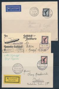 LZ127 ZEPPELIN FLIGHT CARDS & COVERS GERMANY DESPATCH (4) DIFFERENT BU6192