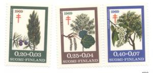 Finland Sc  B185-7 1969 anti TB Trees stamp set mint NH