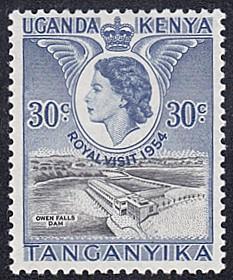 Kenya - Uganda - Tanzania # 102 hinged ~ 30¢ Owen Falls D...