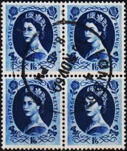 Great Britain. 1958 1s6d(Block of 4).  S.G.586 Fine Used