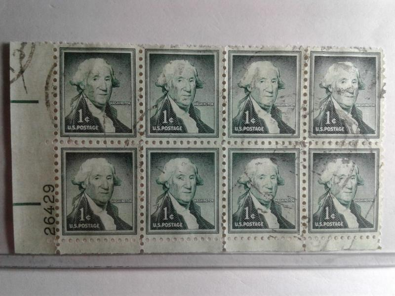 SCOTT # 1031 USED PLATE BLOCK LIBERTY SERIES OF 8 WASHINGTON 1952