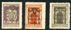 Fiume Scott 185,187-89 Unused FHOG - 1924 Overprints Short Set - SCV $7.20