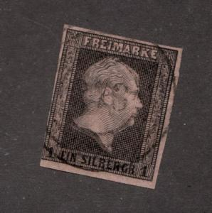 PRUSSIA Sc# 3 Θ used, Freimarke 1 Ein Silbergr, postage stamp cv$14