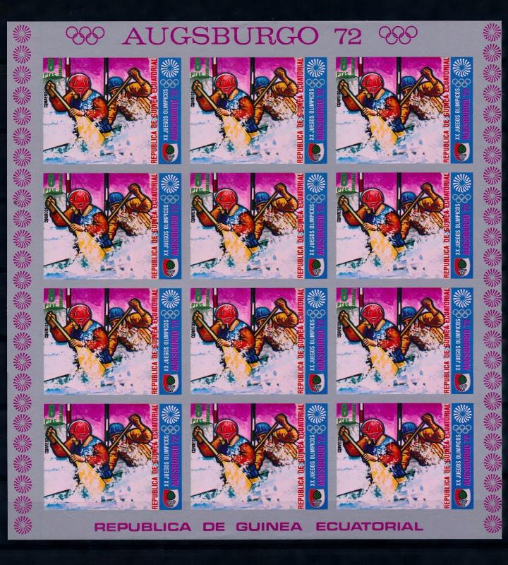 [65825] Equatorial Guinea 1972 Olympic Games Munich Imperf. Full Sheet MNH