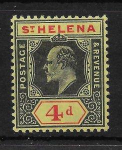 ST.HELENA SG66a 1908 4d BLACK & RED ON YELLOW DAMAGED FRAME & CROWN VAR MTD MINT