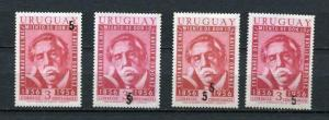 Uruguay 1958 Sc 626 MNH Overprint RARE varieties (x4). Only 100 each known