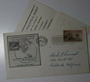 San Bernardino CA Valley Stamp 1950 Harry Weiss Philatelic Expo gossip insert
