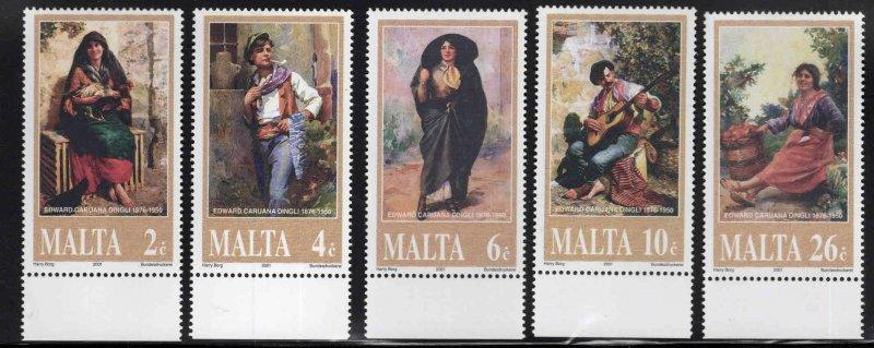 MALTA  Scott 1045-1049 MNH** 2001 Painting set