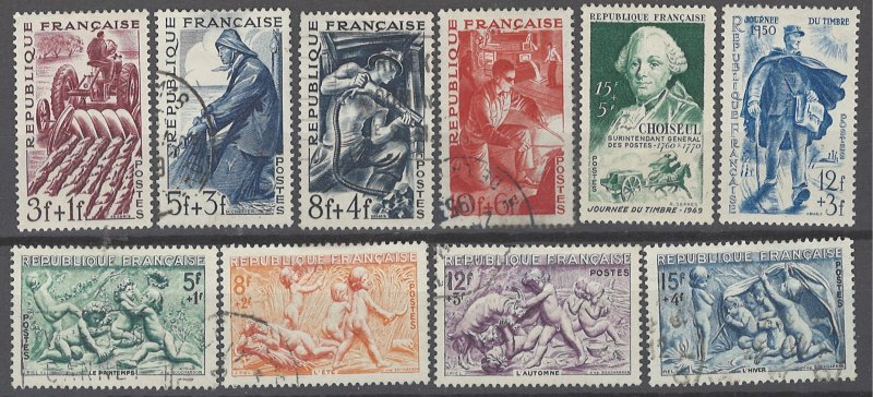 COLLECTION LOT OF # 1961 FRANCE 10 STAMPS SP STAMPS 1949+ (#B234 & B246 THIN)